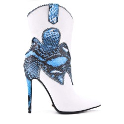 White snake print ankle boot with stiletto heel