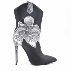 Black snake print ankle boot with stiletto heel