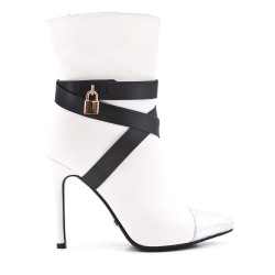 White faux leather ankle boot with stiletto heel