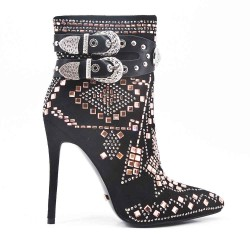 Black rhinestone boot with stiletto heel