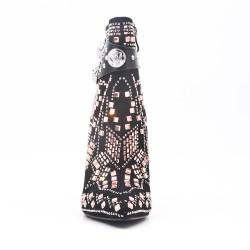 Bota de diamantes de imitación negra con tacón de aguja