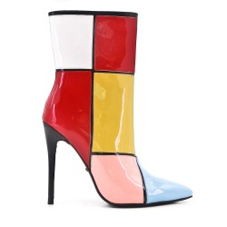 Ankle boot in multicolored varnish with heel