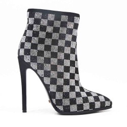 Rhinestone Check Ankle Boot with Stiletto Heel