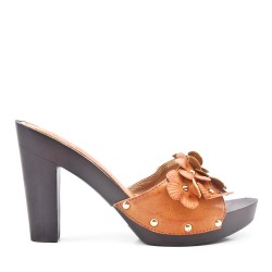 Big size 38-42 - Camel flap with flowers with high heels