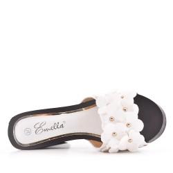 Grande taille 38-42 - Claquette blanche à fleurs avec talon haut