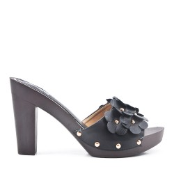 Big size 38-42 - Black flap with flowers with high heels