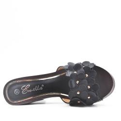 Grande taille 38-42 - Claquette noire à fleurs avec talon haut