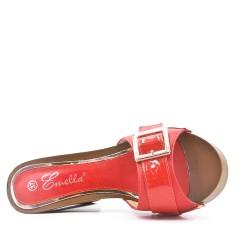 Grande taille 38-42 - Claquette rouge à brides avec talon haut
