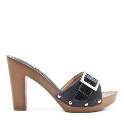 Big size 38-42 - Black flap sling with high heel