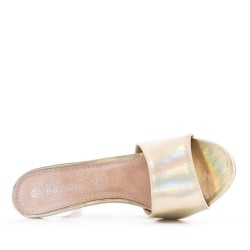 Big size 38-42 -Golden imitation leather sling with heel