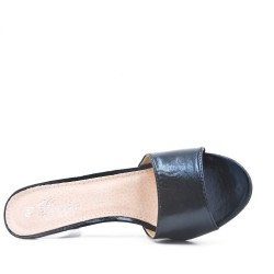 Big size 38-42 -Black imitation leather sling with heel