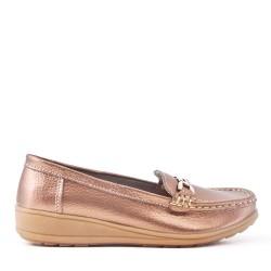 Mocassin confort bronzé en simili cuir