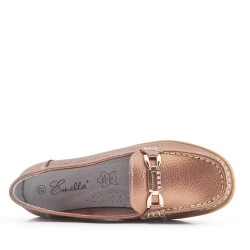 Tan comfort moccasin in faux leather