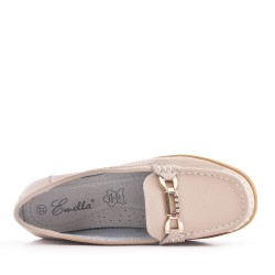 Beige comfort mocassin in faux leather