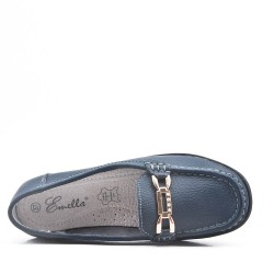 Blue comfort mocassin in faux leather