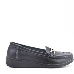 Black comfort mocassin in faux leather
