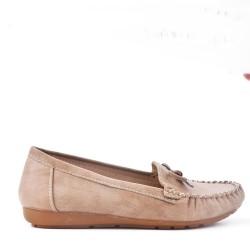 Mocassin confort kaki en simili cuir à nœud