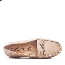 Khaki comfort moccasin in faux leather with bow