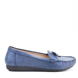 Navy comfort moccasin in faux leather with bow