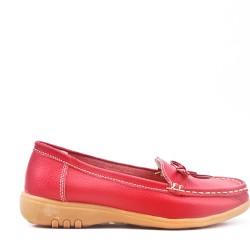 Mocassin confort rouge en simili cuir à nœud