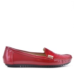 Red faux leather comfort moccasin with rhinestones