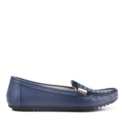 Navy faux leather comfort moccasin with rhinestones
