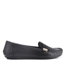Mocassin confort noire en simili cuir orné de strass