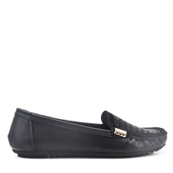 Black faux leather comfort moccasin with rhinestones