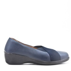 Navy comfort ballerina in faux leather