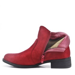 Red ankle boot with faux suede