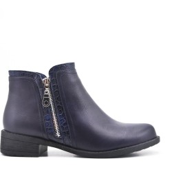 Bottine marine en simili cuir