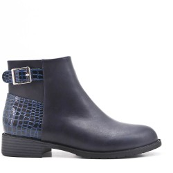 Navy imitation leather ankle boot with buckled bridle