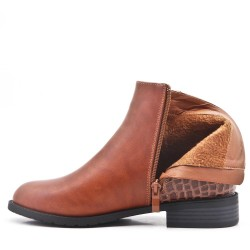 Camel imitation leather ankle boot with buckled bridle