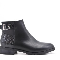 Black imitation leather ankle boot with buckled bridle