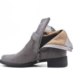 Gray suede ankle boot with curly bridles