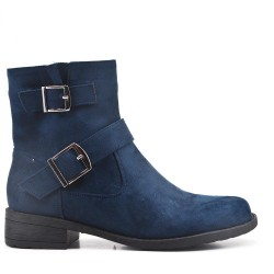 Navy suede ankle boot with curly bridles