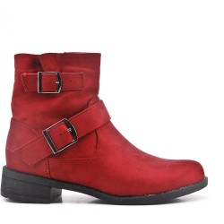 Red suede ankle boot with curly bridles