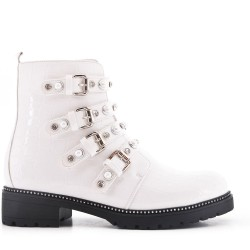 White imitation leather ankle boot with pearl straps