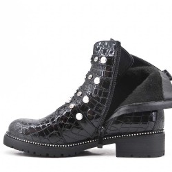 Black imitation leather ankle boot with pearl straps