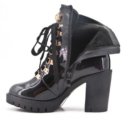 Black patent leather ankle boot with lace