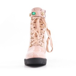 Pink ankle boot with laced heel and lace