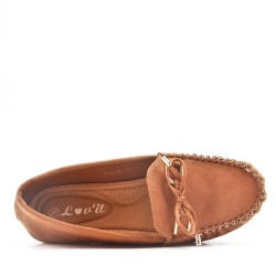 Moccasin in camel suede faux suede