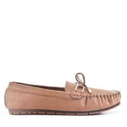 Moccasin in khaki suede faux suede