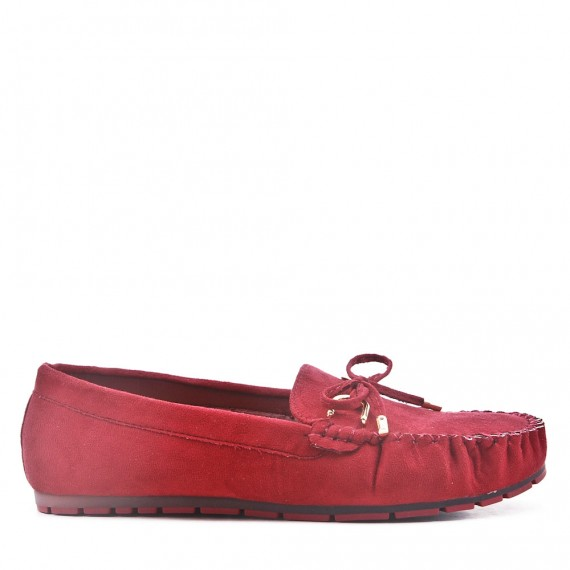 Moccasin in red suede faux suede