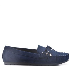 Moccasin in navy suede faux suede