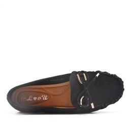 Moccasin in black suede faux suede