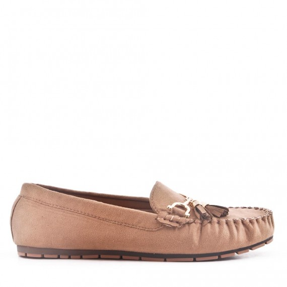 Khaki comfort moccasin in faux suede with pompom