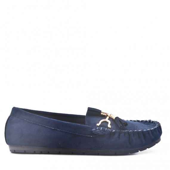 Navy comfort moccasin in faux suede with pompom