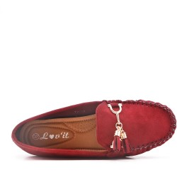 Red comfort moccasin in faux suede with pompom