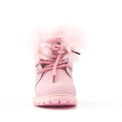 Pink child boot with lace